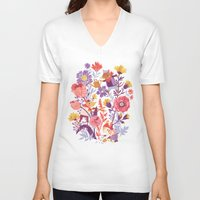 school V-neck T-shirts featuring The Garden Crew by Teagan White