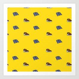 Shirt & Shoe Repeat Pattern-Yellow Art Print
