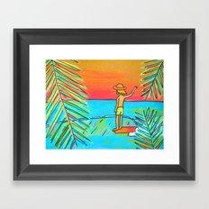 dreaming of tropical sliders hang 10 surf dude Framed Art Print