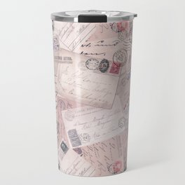 Nostalgic Letter and Postcard Collage Soft Pink Travel Mug