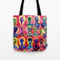 aliens Tote Bags featuring aliens  by Verismaya