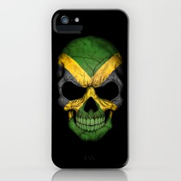 Dark Skull with Flag of Jamaica iPhone Case