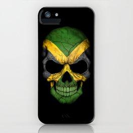 Dark Skull with Flag of Jamaica iPhone Case