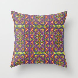 Stained Glass Patterned Zentangle Drawing Throw Pillow