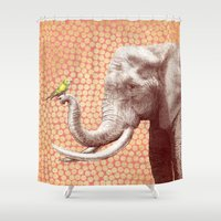 eric fan Shower Curtains featuring New Friends 2 by Eric Fan and Garima Dhawan by Eric Fan