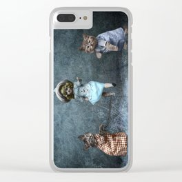 Cats Playing Jump Rope Clear iPhone Case