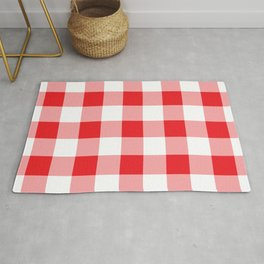 Red Gingham Pattern Rug