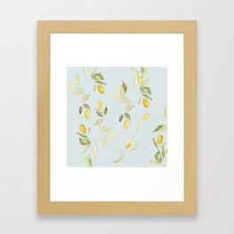Watercolor Kumquat with Blue Background Framed Art Print