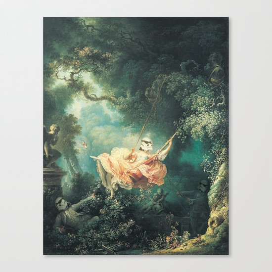 "Homage to Fragonard, ""The Swinging Stormtrooper"". Canvas Print"