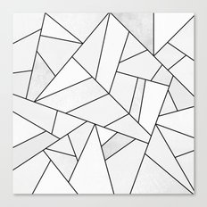 White Stone / Black Lines Canvas Print