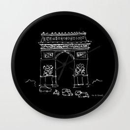 Arc De Triomphe BW Wall Clock