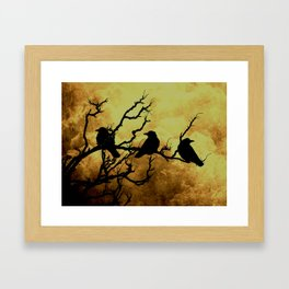 Crows on Branch Against Stormy Sky A522 Framed Art Print