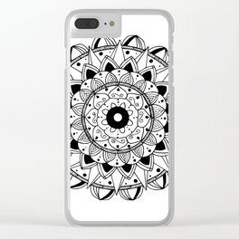 Delicate black mandala on white Clear iPhone Case
