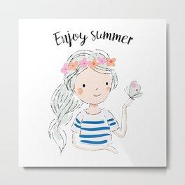 Cute girl and butterfly. Enjoy summer Metal Print