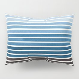 Watercolor Gouache Mid Century Modern Minimalist Colorful Green Blue Stripes Pillow Sham