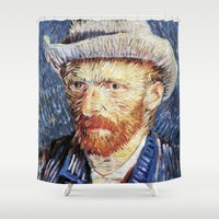 van gogh Shower Curtains featuring Van Gogh  by klausbalzano