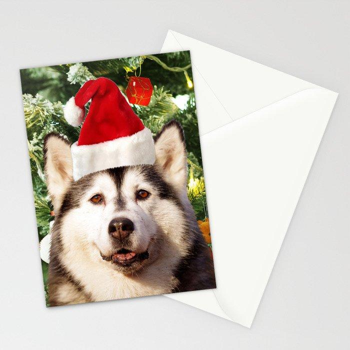 Santa Hat Siberian husky Christmas Tree Snowman Gift Box Stationery Cards