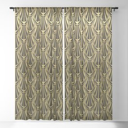 Overlapping Shell Pattern in Gold Sheer Curtain