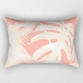 Tropical Coral Pink Palm Leaf Pattern Rectangular Pillow