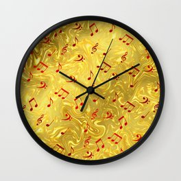 red music notes in golden festive paper background Wall Clock