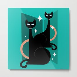 Fashionable Felines Atomic Age Black Kitschy Cats Metal Print