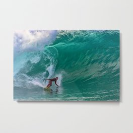Surfing Double Overhead at the Wedge Metal Print