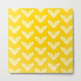 Butterfly Pattern Yellow Metal Print