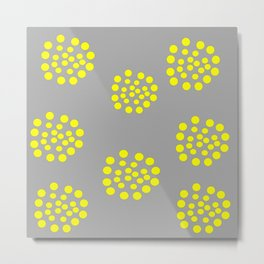 Gray Yellow Geometric Pattern Abstract Metal Print