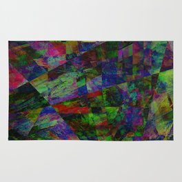 Colourful Memories - Abstract, geometric, textured, dark painting Rug