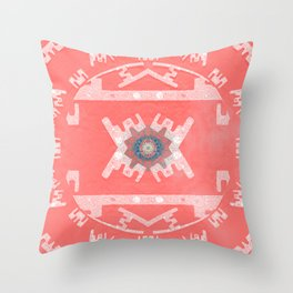 Coral Peach Aztec Boho Mandala Throw Pillow