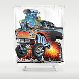 Classic hotrod 57 gasser drag racing muscle car cartoon Shower Curtain
