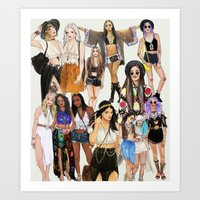 coachella Art Prints featuring Coachella Girls by Sara Eshak