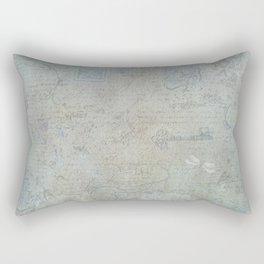 French Blue Vintage Wallpaper Rectangular Pillow