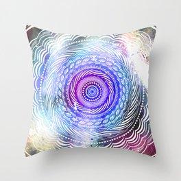 Modern Mandala Spiral Galaxy Space Textured Multi Colored / Purple Pink Orange Gray Black Throw Pillow