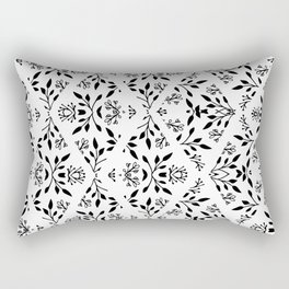 Abstract geometrical black white floral pattern Rectangular Pillow