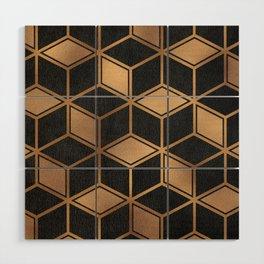 Charcoal and Gold - Geometric Textured Cube Design II Wood Wall Art