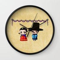 korean Wall Clocks featuring Korean Chibis by artwaste