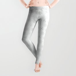 White Festive Christmas Snowflake Stripes Seamless Frost Leggings
