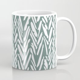 Boho chevron herringbone pattern - moss green and white Coffee Mug