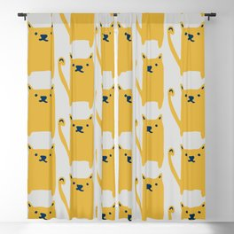 Cute Cat minimal Pattern Grey Blackout Curtain