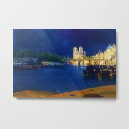 African American Masterpiece, 'Paris View of the Seine, Looking toward Notre Dame' by Henry Tanner Metal Print