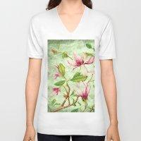 magnolia V-neck T-shirts featuring Magnolia by CatDesignz