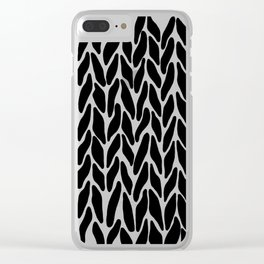 Hand Knitted Black on White Clear iPhone Case