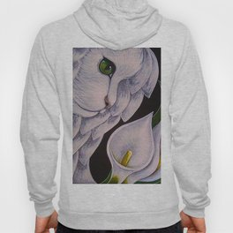 WHITE ANGEL CAT WITH CALLA LILLIES FLOWERS Hoody