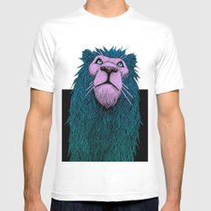 Lion Bust Mens Fitted Tee MEDIUM White