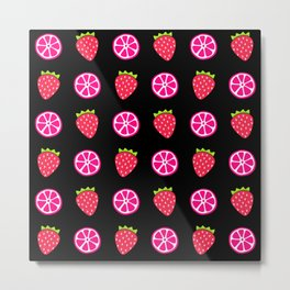 Tropical exotic juicy pink grapefruit citrus slices and ripe red strawberries summer fruity black whimsical cute pattern design. Metal Print