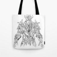skyrim Tote Bags featuring skyrim dragonborn miraak by  Steve Wade ( Swade)