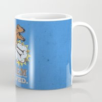 trex Mugs featuring problem solved... trex with arms.. by studiomarshallarts