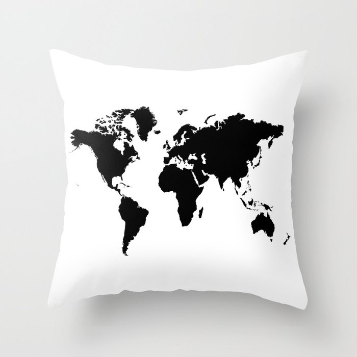 Black And White World Map Rug: Black And White World Map Throw Pillow By Haroulita