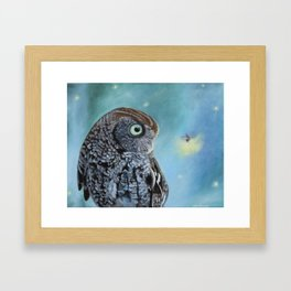 Owl and Lightning Bugs Framed Art Print